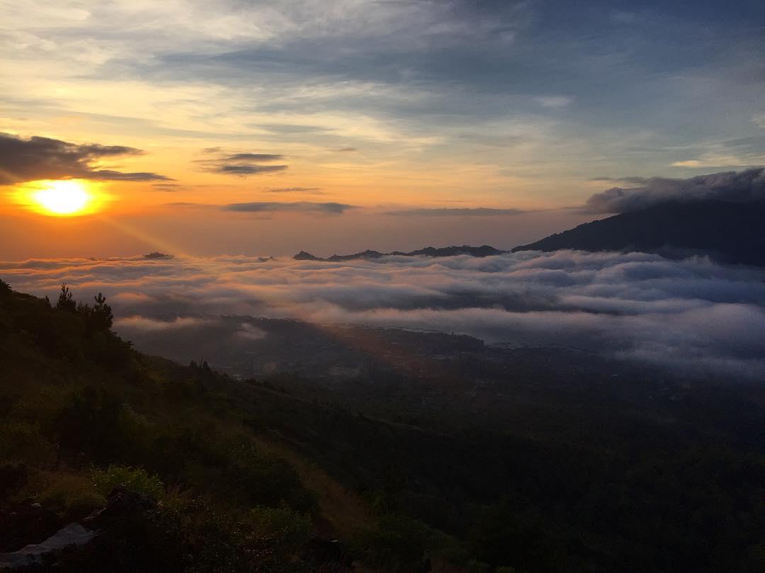 Sunset in Bali; Mount Batur